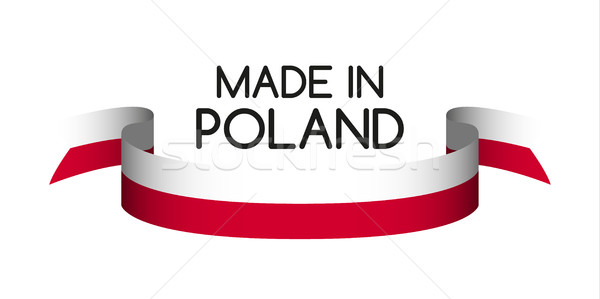 Colored ribbon in the colors of Polish, Made in Poland symbol, P Stock photo © kurkalukas