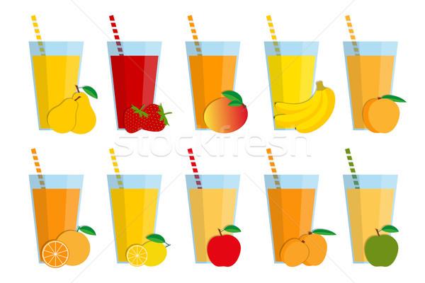набор свежие фрукты коктейли фрукты льстец коллекция Сток-фото © kurkalukas