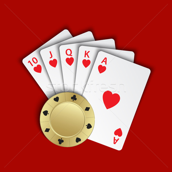 A royal flush of hearts with gold poker chip on red background, winning hands of poker cards, casino Stock photo © kurkalukas
