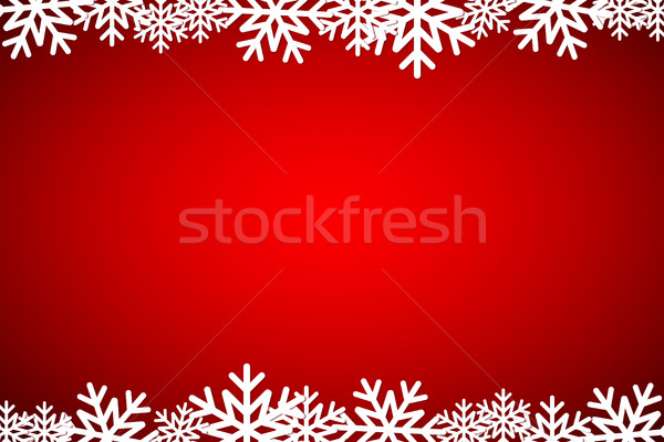 Christmas red background lined snowflakes, simple holiday card Stock photo © kurkalukas