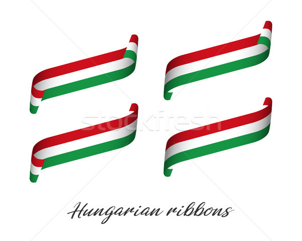 Set of four modern colored vector ribbons with Hungarian tricolor isolated on white background, flag Stock photo © kurkalukas