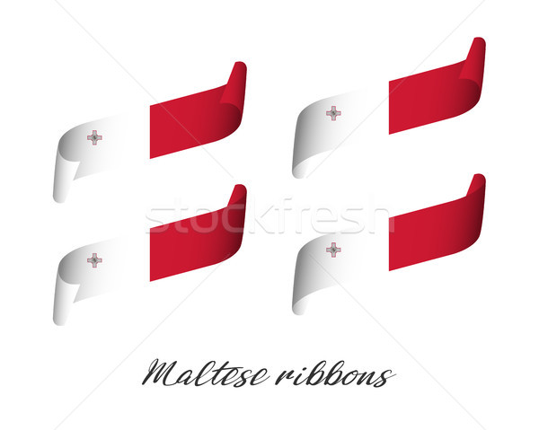 Set of four modern colored vector ribbons in Maltese colors isolated on white background, flag of Ma Stock photo © kurkalukas