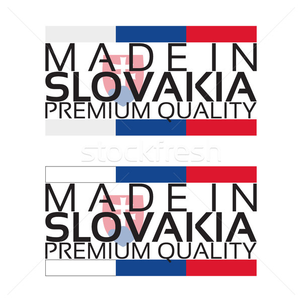 Made in Slovakia icon, premium quality sticker with Slovak colors, vector illustration isolated on w Stock photo © kurkalukas