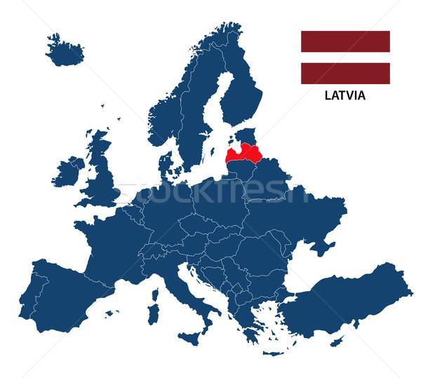 карта Европа Латвия флаг изолированный белый Сток-фото © kurkalukas