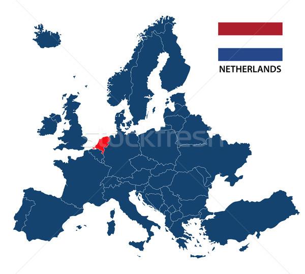 Harita Avrupa Hollanda hollanda bayrak yalıtılmış Stok fotoğraf © kurkalukas