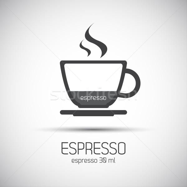 Кубок эспрессо простой вектора иконки древесины Сток-фото © kurkalukas