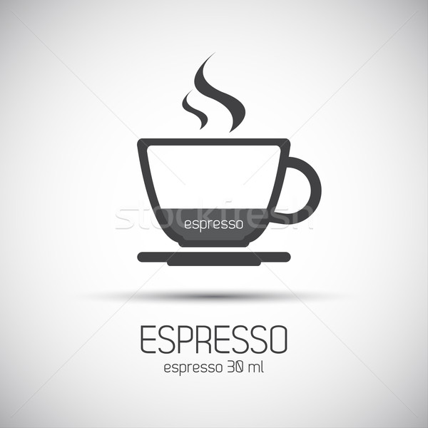 Taza café expreso simple vector iconos madera Foto stock © kurkalukas