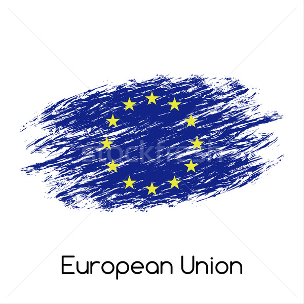 Simple vector European Union flag (EU), grunge flag, vector illustration isolated on white backgroun Stock photo © kurkalukas