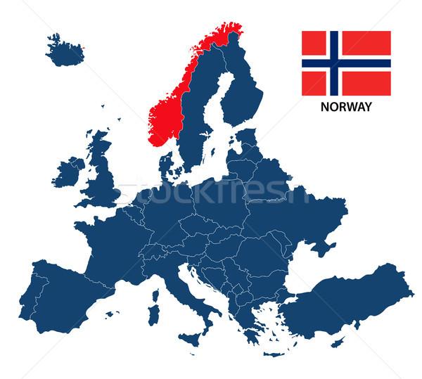 Mappa Europa Norvegia bandiera isolato Foto d'archivio © kurkalukas