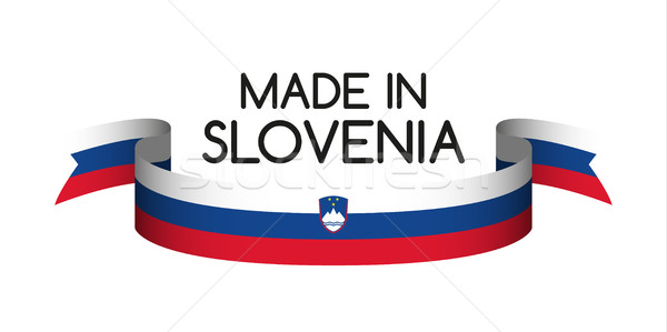 Colored ribbon with the Slovenian tricolor, Made in Slovenia sym Stock photo © kurkalukas