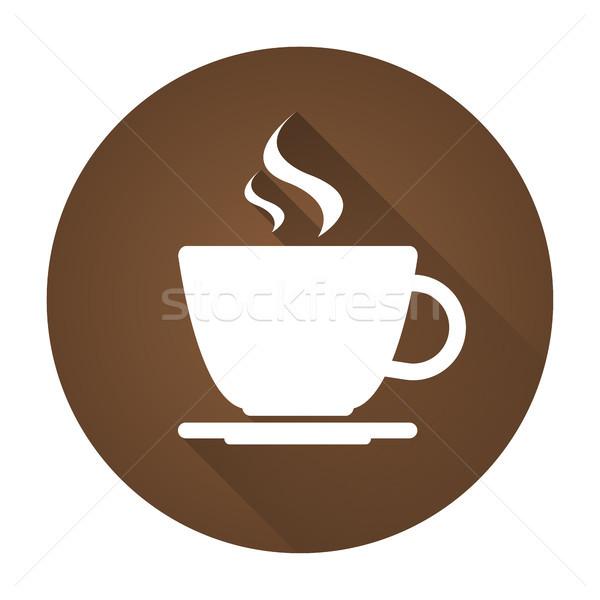 простой вектора икона чашку кофе падение тень Сток-фото © kurkalukas