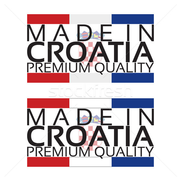 Made in Croatia icon, premium quality sticker with Croatian colors, vector illustration isolated on  Stock photo © kurkalukas