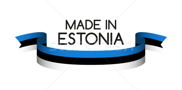 Colored ribbon with the Estonian tricolor, Made in Estonia symbo Stock photo © kurkalukas