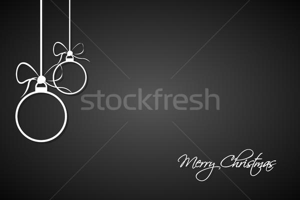 Noël carte de vœux simple blanche joyeux Photo stock © kurkalukas