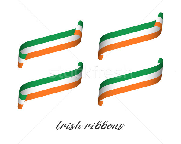 Set of four modern colored vector ribbons with Irish tricolor isolated on white background, flag of  Stock photo © kurkalukas