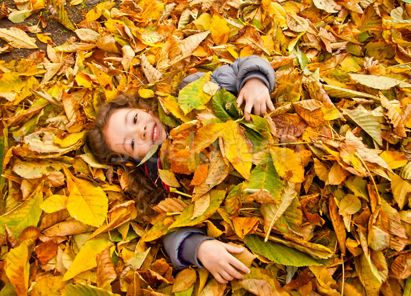 Stock photo: Little Girl Playing With Autumn Leaves