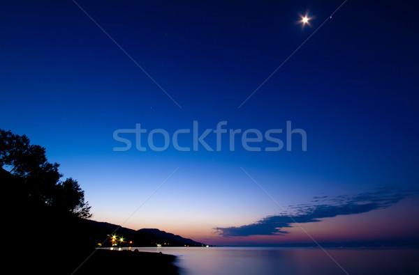 Rustig dawn sterrenkundig schemering maan strand Stockfoto © Kuzeytac