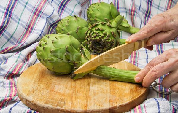 Wereldbol bamboe mes voorjaar voedsel Stockfoto © Kuzeytac