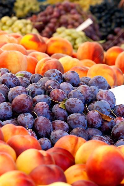 Heap Of Fresh Organic Peaches And Damson Plums  Stock photo © Kuzeytac