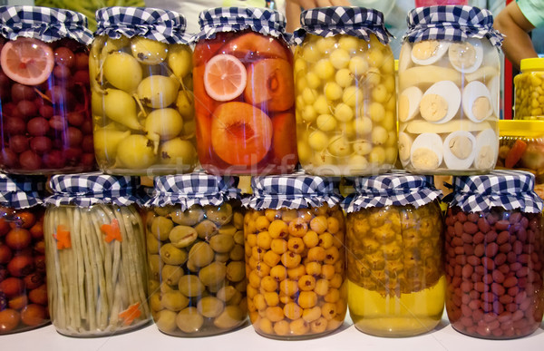 Pickled Vegetables And Fruit In Jars Stock photo © Kuzeytac