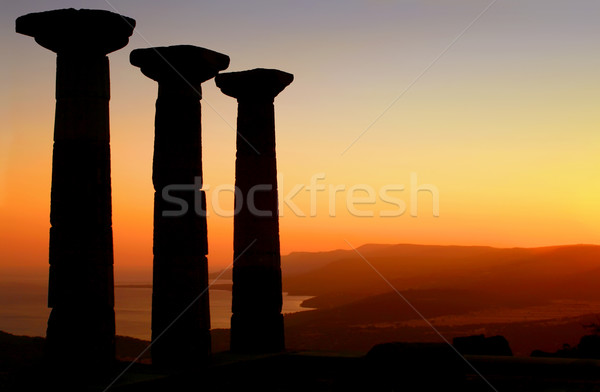 Temple Of Athena Silhouette At Sunset Stock photo © Kuzeytac