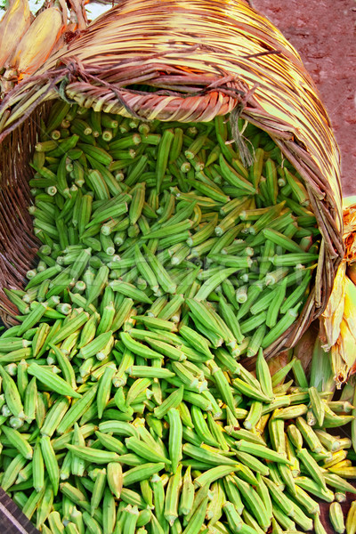 Organic Okra Spilling From A Basket Stock photo © Kuzeytac