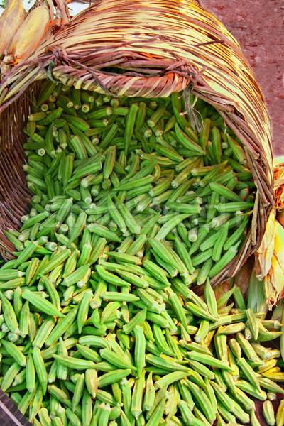 Foto stock: Orgânico · cesta · rua · mercado · senhora · dedos
