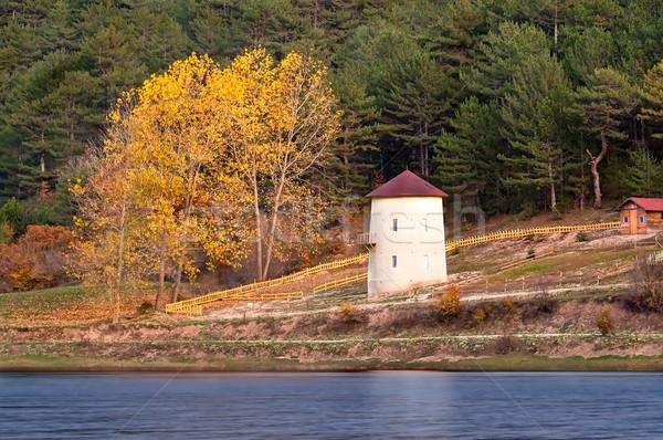 Windmill At Autumn At Cubuk Lake, Turkey Stock photo © Kuzeytac