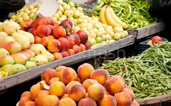 Stock fotó: Friss · organikus · gyümölcsök · zöldségek · utca · piac