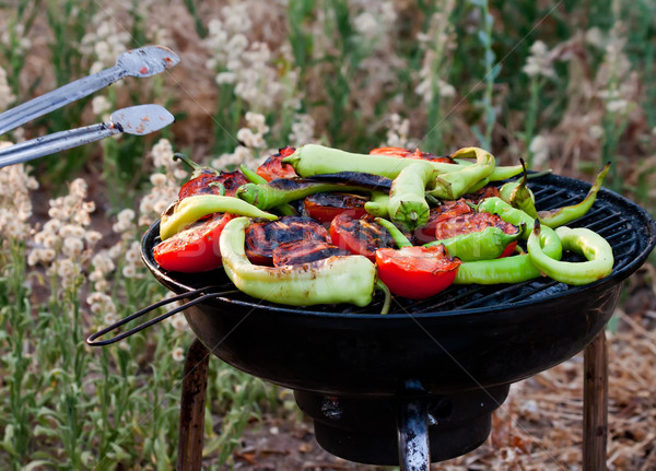Tomato and Peppers Fish Grilling On BBQ   Stock photo © Kuzeytac