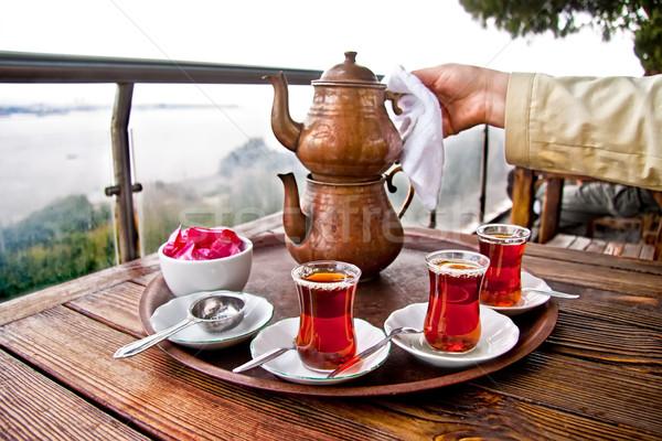 питьевой традиционный турецкий чай друзей Сток-фото © Kuzeytac