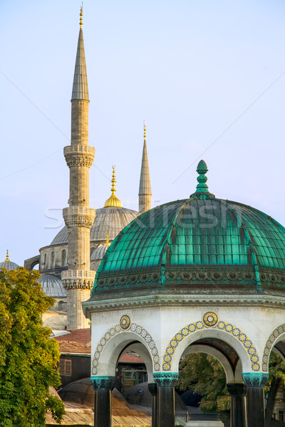 Blue Mosque And The German Fountain, Istanbul, Turkey Stock photo © Kuzeytac