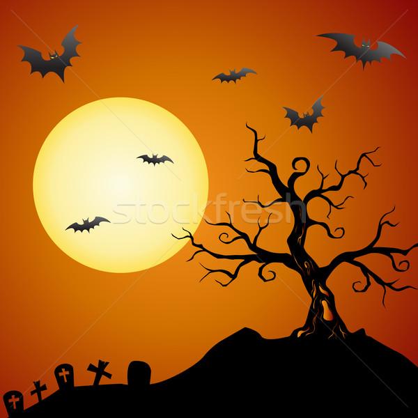 Hátborzongató fa ijesztő halloween hold narancs Stock fotó © kuzzie
