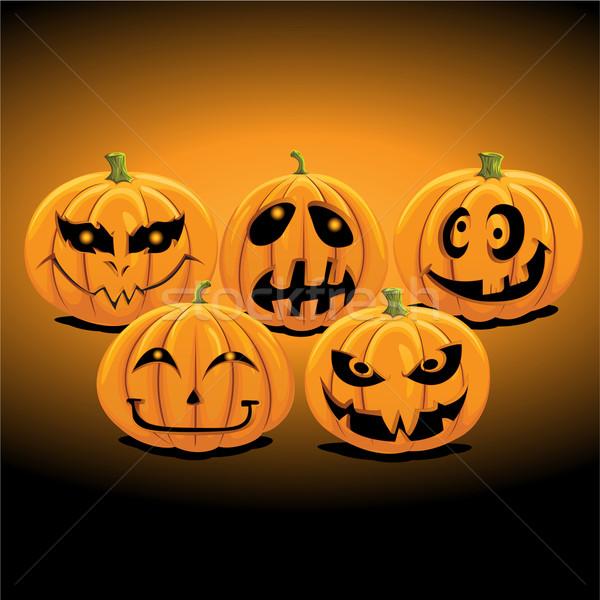 Illustrazione set zucca di halloween lanterna faccia giardino Foto d'archivio © kuzzie