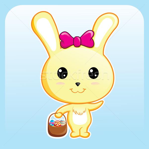 Wielkanoc królik funny koszyka jaj strony Zdjęcia stock © kuzzie