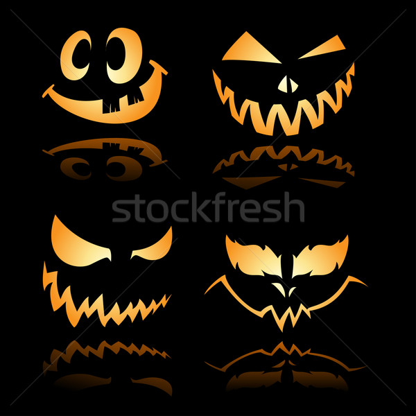 Scary grinsen Illustration Set unheimlich Licht Stock foto © kuzzie