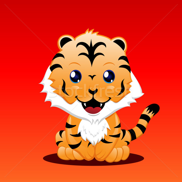 Cute tigre arancione animale cartoon Foto d'archivio © kuzzie