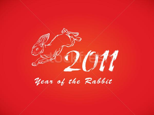 Capodanno coniglio illustrazione abstract sfondo rosso Foto d'archivio © kuzzie