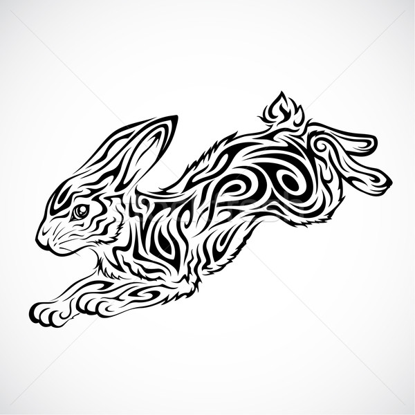 Stock photo: Jumping Rabbit Tattoo