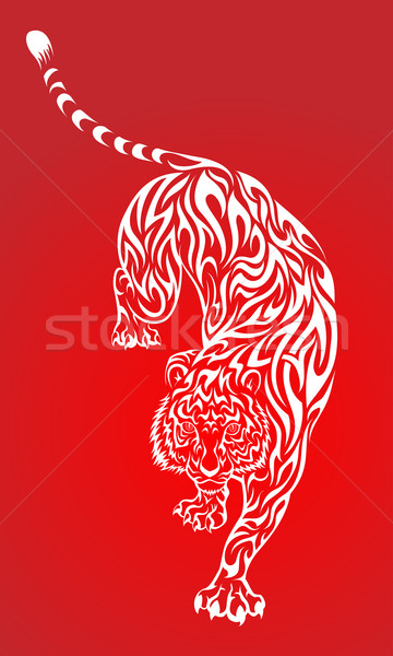 Red Tribal Tiger Stock photo © kuzzie