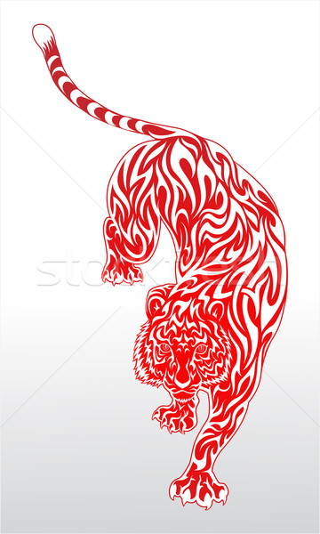 Stock photo: Fierce tiger tribal red tattoo