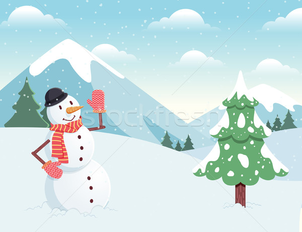 Pupazzo di neve inverno panorama ragazzi neve cartoon Foto d'archivio © kuzzie