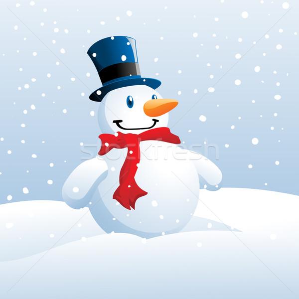 Snowman ilustracja sam dziedzinie śniegu niebo Zdjęcia stock © kuzzie