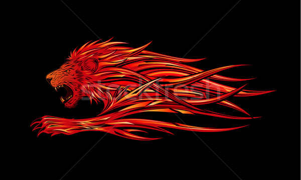 Fire Lion Stock photo © kuzzie