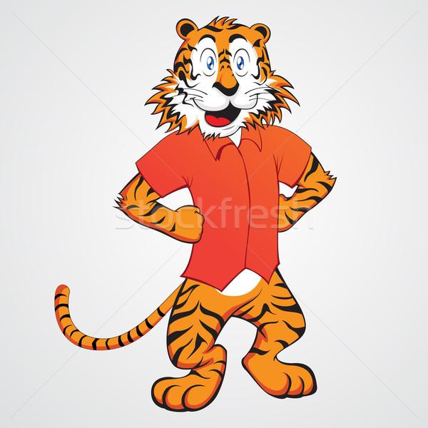 Tigre carattere divertente cartoon natura cat Foto d'archivio © kuzzie