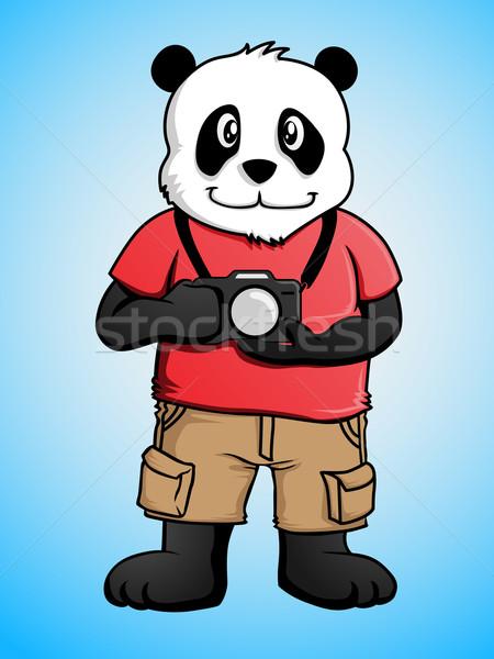 Fotografo panda cartoon carattere nero bianco Foto d'archivio © kuzzie