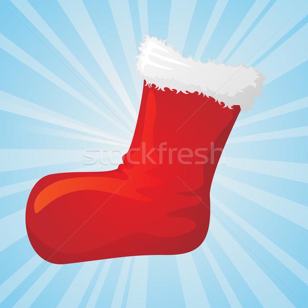 Natale calzino regalo albero inverno rosso Foto d'archivio © kuzzie