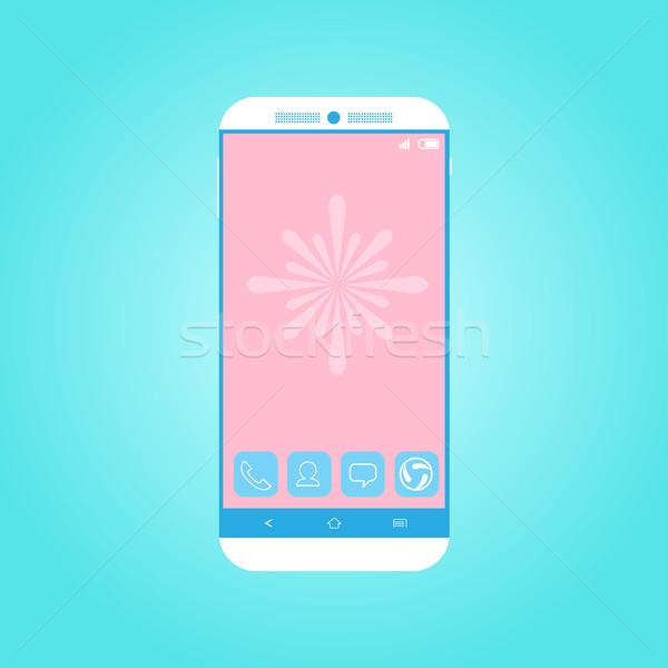Simple flat smartphone Stock photo © kuzzie