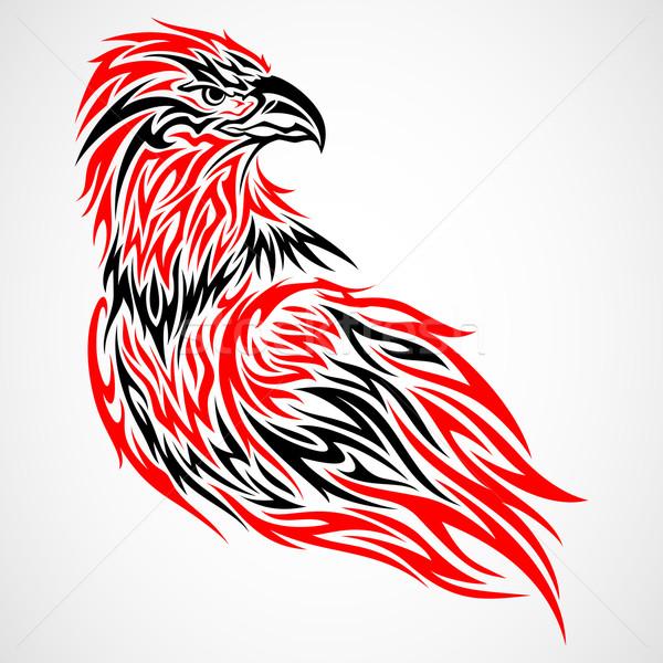 Aquila tattoo tribali illustrazione lavoro piuma Foto d'archivio © kuzzie