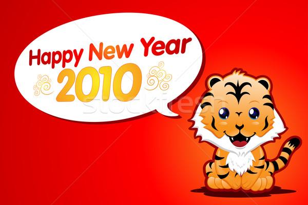 Cute anno tigre capodanno cartoon cat Foto d'archivio © kuzzie